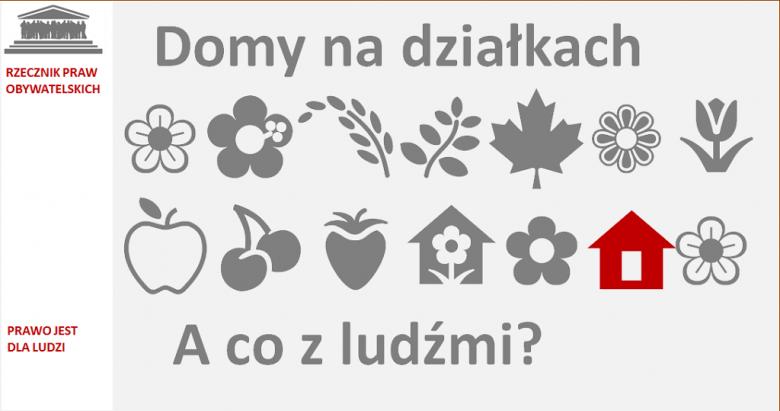 grafika z symbolami kwiatów i drzew oraz małym domkiem