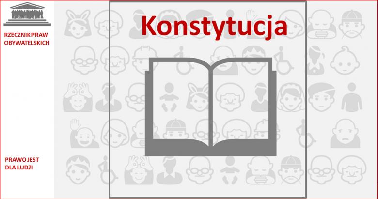 Grafika: otwarta księga z napisem Konstytucja