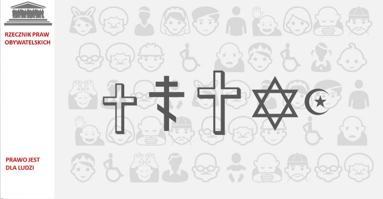 grafika: symbole religijne: półksiężyc, krzyż prawosławny, gwiazda Dawida, krzyż katolicki