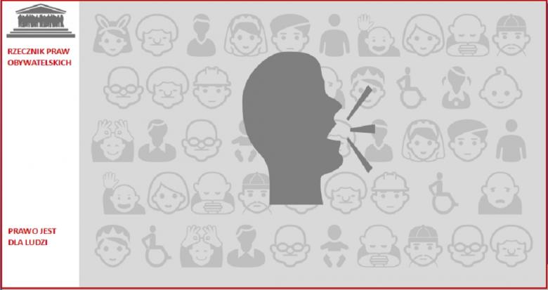 Szara grafika - mówiący człowiek