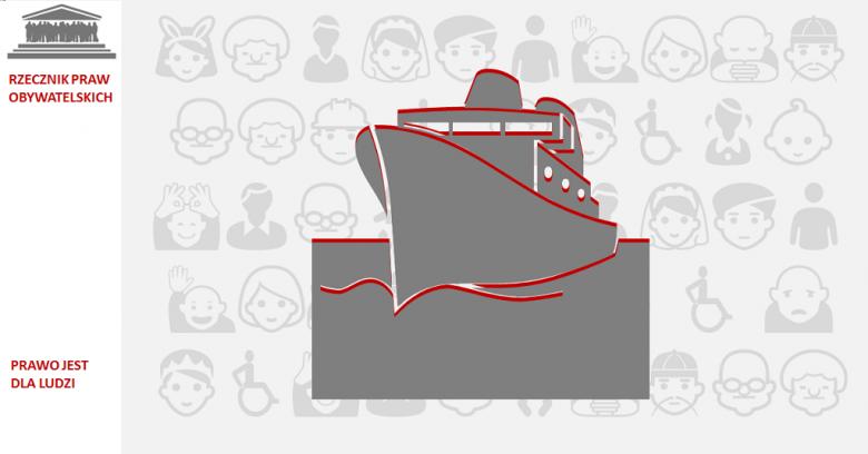 Grafika: statek na pomarańczowym tle