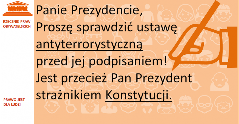 Grafika: napis na pomarańczowym tle i symbol reki podpisującej dokument