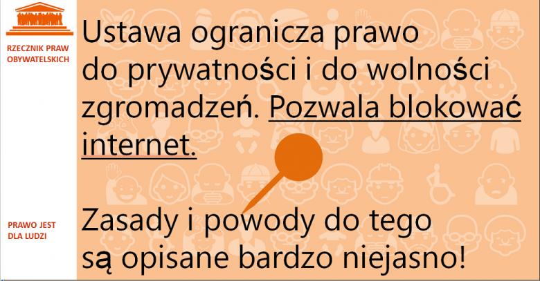 Grafika: napis na pomarańczowym tle i symbol pinezki
