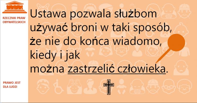 Grafika: napis na pomarańczowym tle i symbol pinezki i krzyża