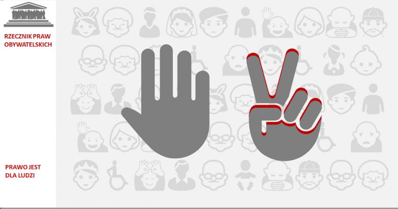 Grafika: otwarta dłoń i dłoń w znaku zwycięstwa V