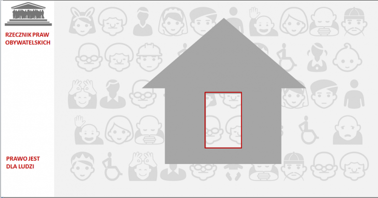 Grafika: dom na szarym tle