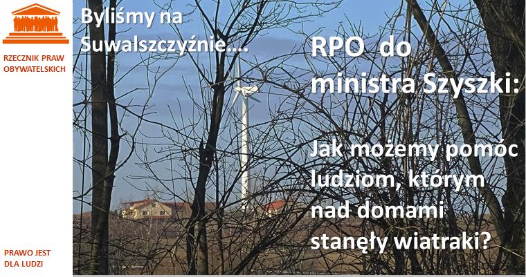 Grafika: na tle zdjęcia wiatraka koło domu napis