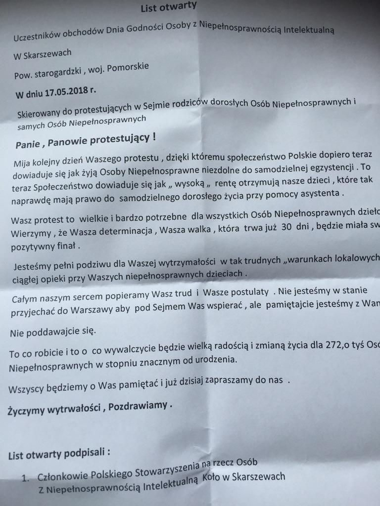 List otwarty skierowany do protestujących w Sejmie rodziców dorosłych osób niepełnosprawnych i samych niepełnosprawnych