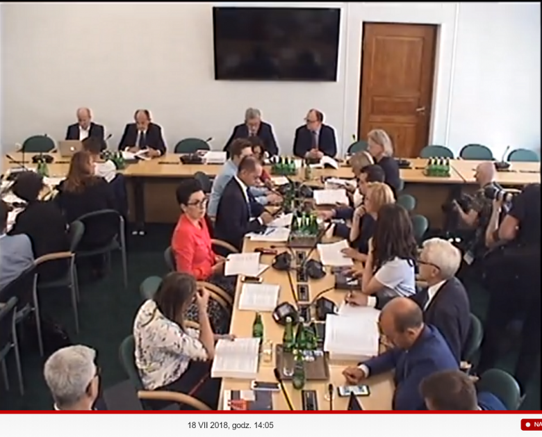 Ludzie siedzą przy stołach w sali obrad komisji parlamentarnej