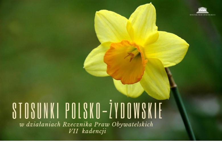 """Żonkil z napisem """"Stosunki polsko-żydowskie"""""""