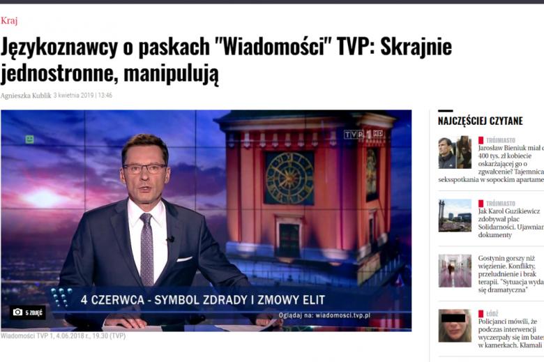 """screen wywiadu na stronie internetowej gazety, na zdjęciu prezenter Wiadomości TVP czyta informacje, a na pasku napis : """"4 czerwca - symbol zmowy i zdrady elit"""""""