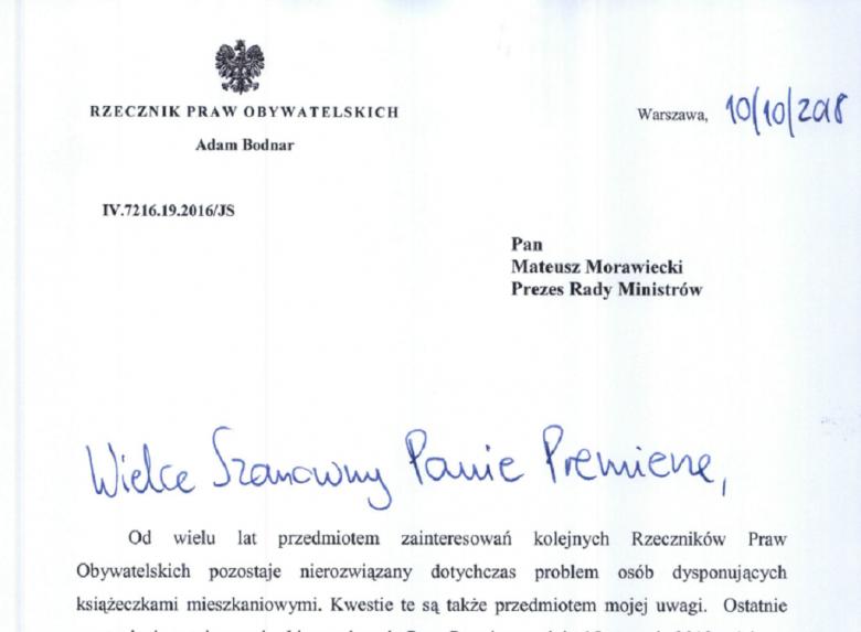 Pierwsza strona oficjalnego pisma do premiera, na papeterii z godlem państwoym
