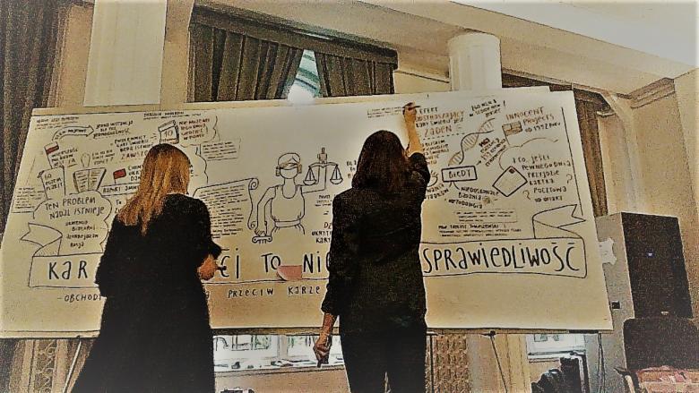 Dwie kobiety rysują na długim białym papierze, przestrzeń prawie w całości zarysowana