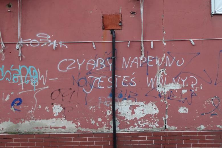 """Napis na murze """"Czy na pewno jesteś wolny:"""