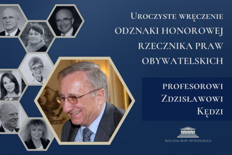 Granatowa plansza ze zdjęciem profesora, w tyle zdjęcia innych odznaczonych przez RPO