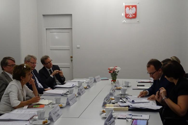 Zdjęcie: Adam Bondar cytuje członkom Komisji Weneckiej fragment polskich przepisów
