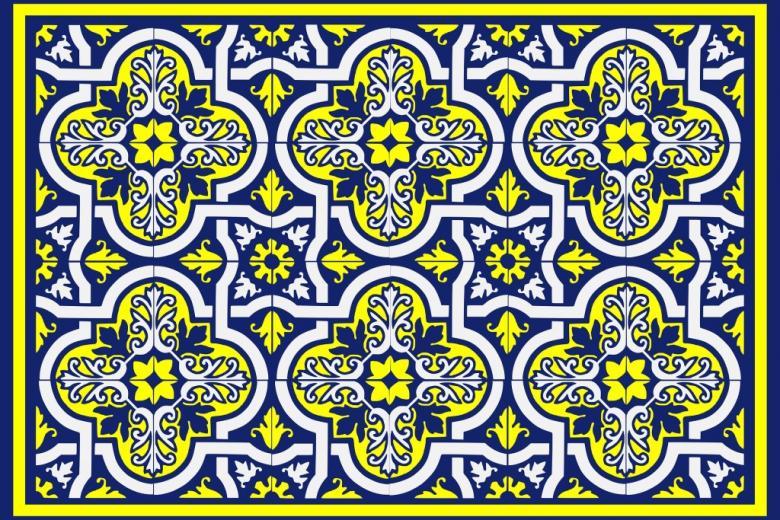 Żółto-niebieski wzór geometryczny