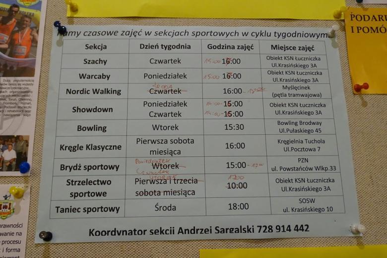 Zdjęcie : kartka na tablicy z rozkładem zajęć sportowych
