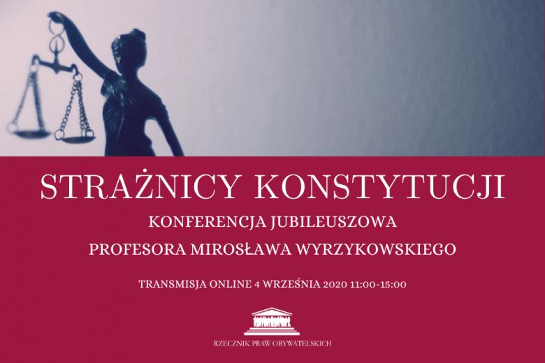 Plakat wydarzenia ze zdjęciem statuetki przedstawiającej sprawiedliwość