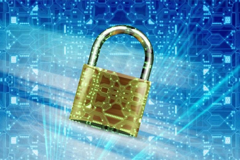 kłódka na tle symbolu sieci informacji