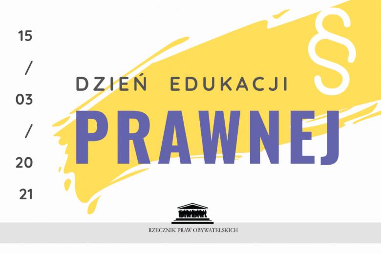 grafika z żółtymi elementami i napisem Dzień Edukacji Prawnej