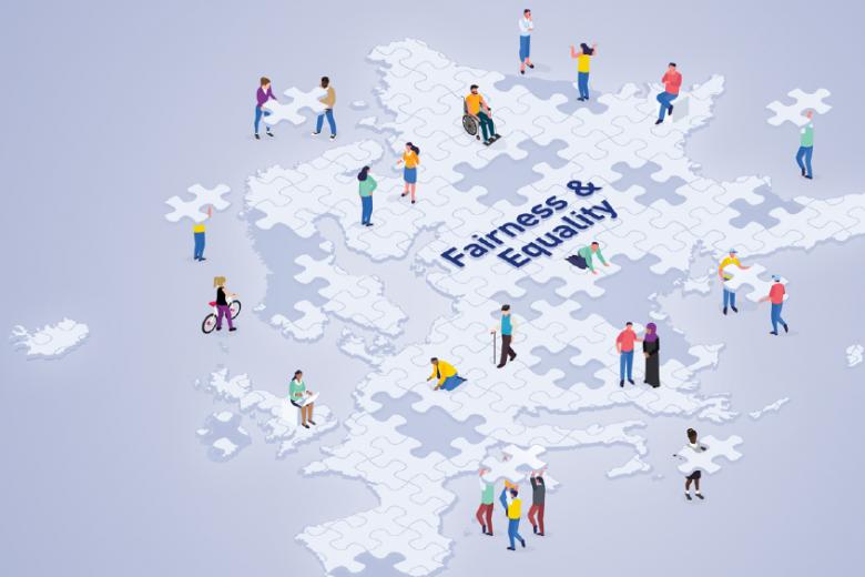 Ludzie układający puzzle w kształcie mapy Europy - grafika
