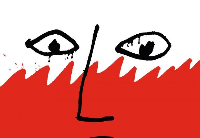 Symboliczny rysunek człowieka na biało-czerwonym człowieka