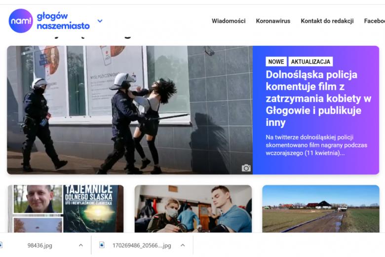 Screen z portalu pokazujący policjanta bijącego kobietę