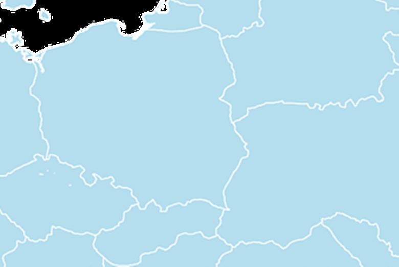 Mapa z granicami Polski i jej sąsiadów