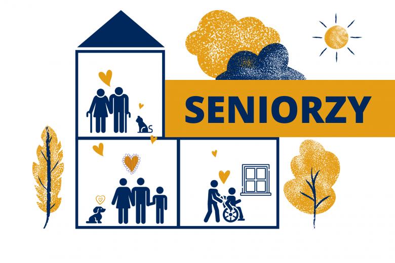 """Grafika - ludzie osobno, ale się wspierają. Napis """"Seniorzy"""""""