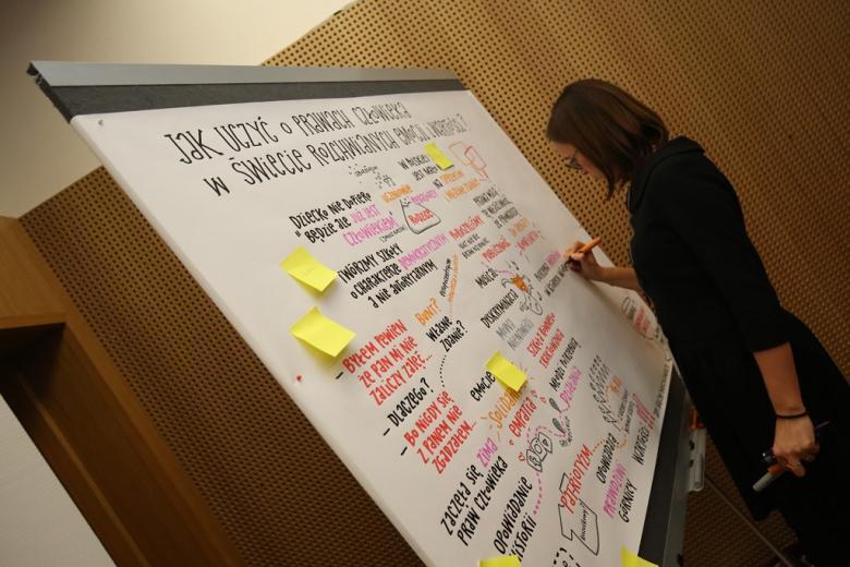 zdjęcie: kobieta stoi przy tablicy i rysuje