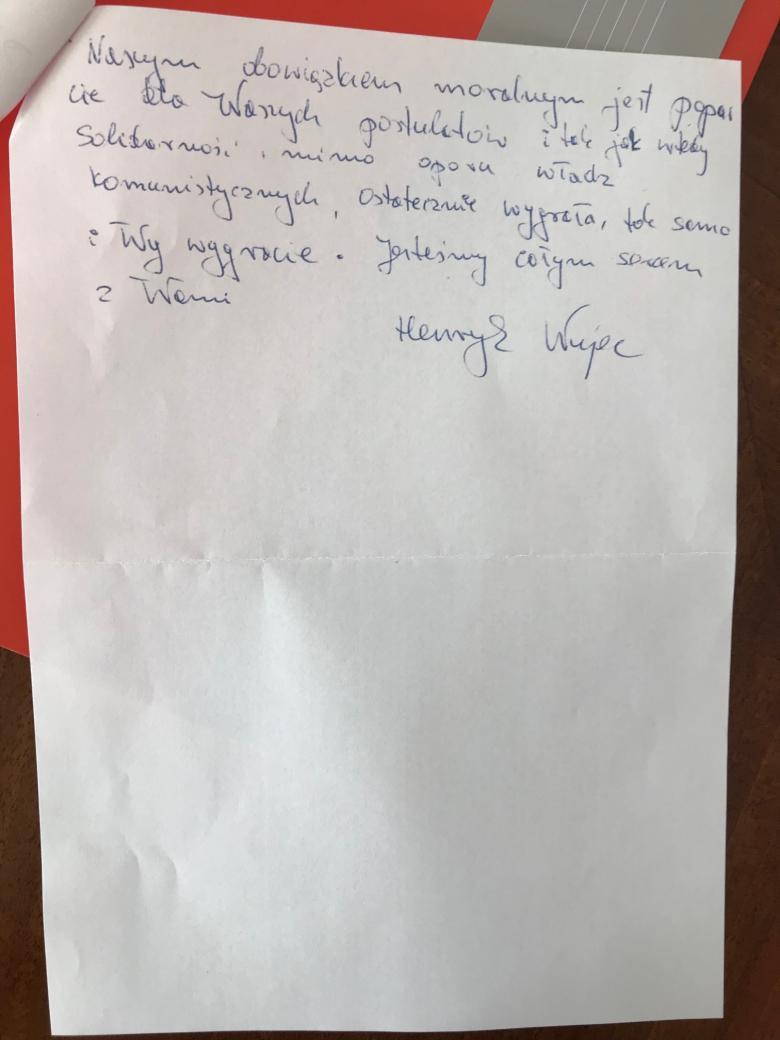 Druga strona odręcznego listu (cała treść w tekscie)