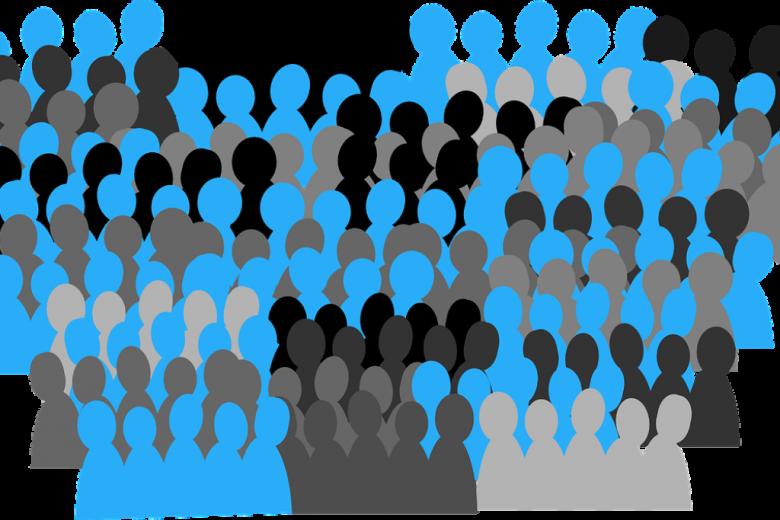 Grafika: niebieskie, czarne i szare sylwetki ludzi