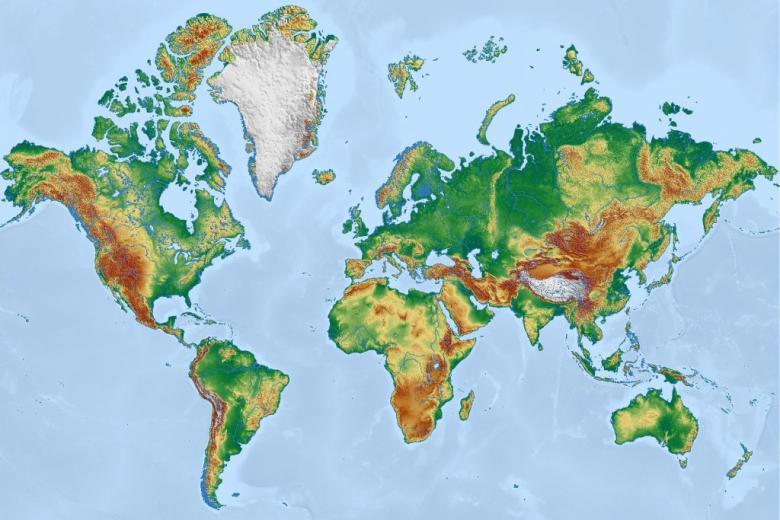 Fizyczna mapa świata