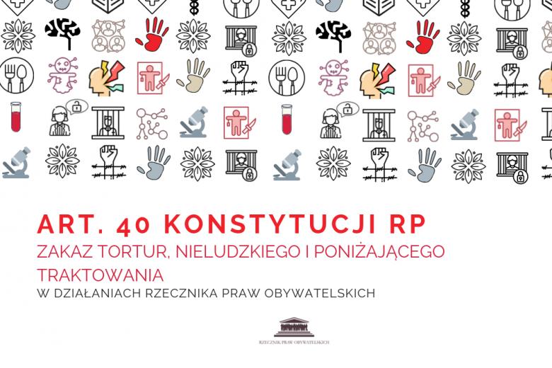 kolorowe piktogramy z napisem - art.40 Konstytucji RP