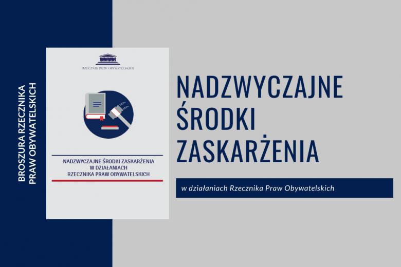 granatowo-szara plansza z okładką broszury o nadzwyczajnych środkach zaskarżenia