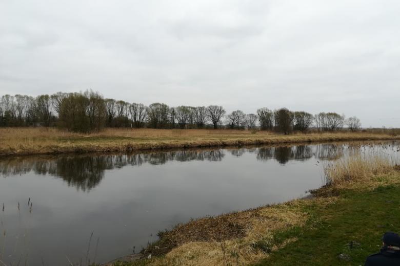 Rzeka w krajobrazie wczesnej wiosny