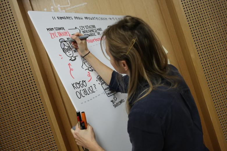 Młoda kobieta tworzy graficzną relację na karcie papieru