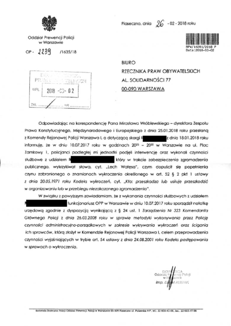 Dokument cytowany w tekście