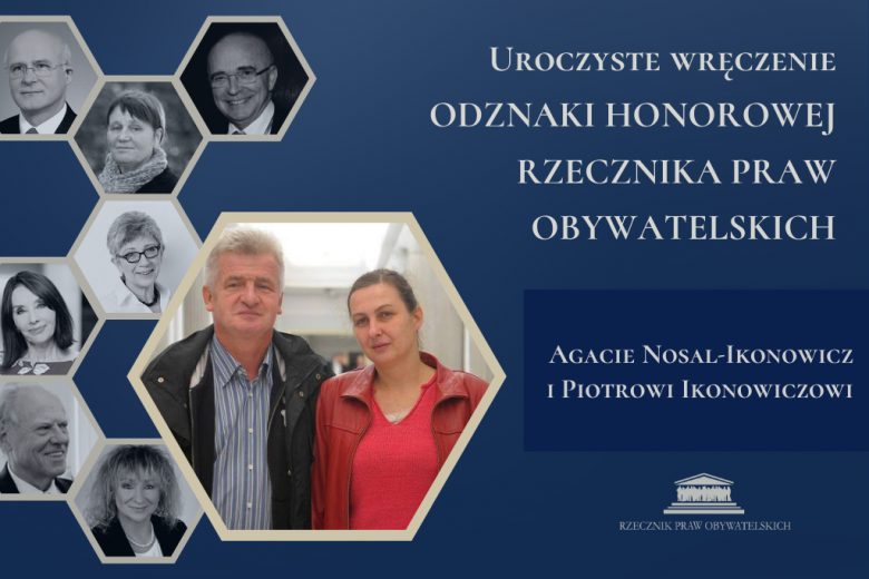 Zdjęcie przedstawia dwoje ludzi. Odznaka dla Agaty Nosal-Ikonowicz i Piotra Ikonowicza