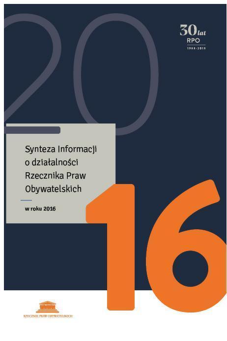 grafika: granatowa okładka publikacji z pomarańczową liczbą 16