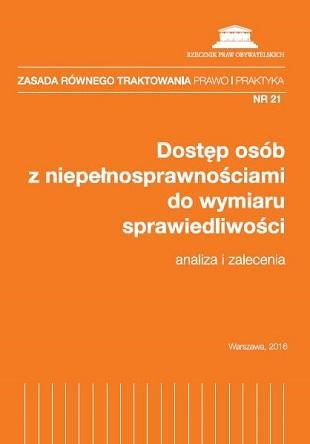 zdjęcie: pomarańczowa okładka z białym napisem: Dostęp osób z niepełnosprawnościami do wymiaru sprawiedliwości