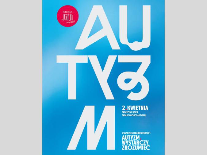 niebieski plakat z zakrzywionym napisem autyzm