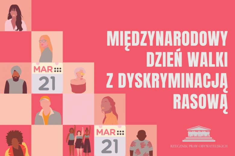 """czerwona plansza z napisem """"międzynarodowy dzień walki z dyskryminacją rasową"""""""