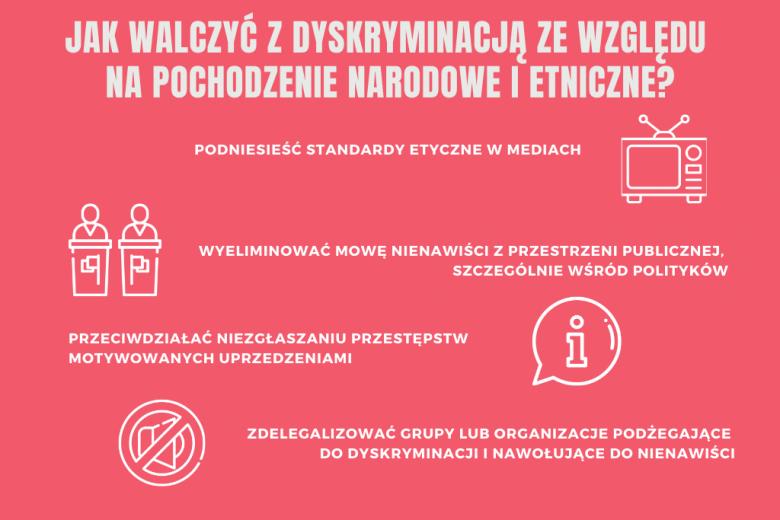 czerwona plansza z zaleceniami dotyczącymi zwalczania dyskryminacji