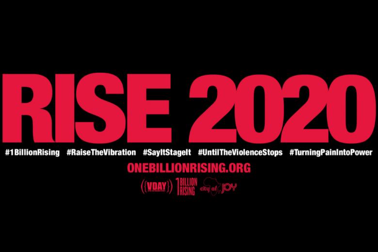 """czarna plansza z czerwonym napisem """"rise 2020"""""""