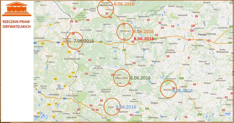 Mapa części Polski z zaznaczonymi miejscowościami
