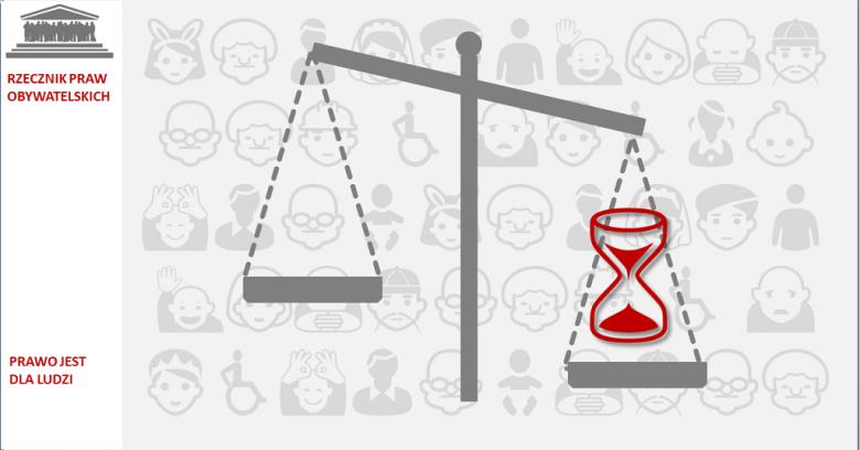 Grafika: waga sprawiedliwości, którą przeważa klepsydra - symbol upływu czasu