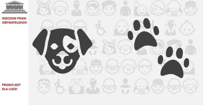 grafika: na szarym tle symbol głosy psa i psich łapek