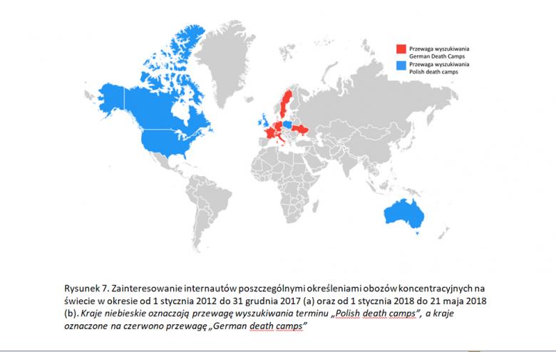 Mapa świata. Na niebiesko USA, Kanada, Wielka Brytania, Australia i Polska, na czerwono - kraje Europy